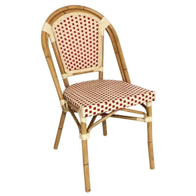 chaise en rotin coloris rouge. Black Bedroom Furniture Sets. Home Design Ideas