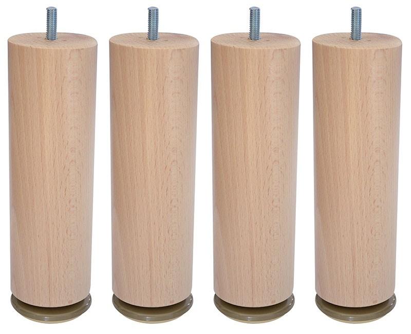 4 Pieds Cylindriques Pour Sommier   Hêtre, Wenge Ou Gris