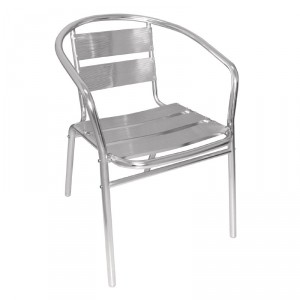 Fauteuils empilables en aluminium - U419 - Lot de 4